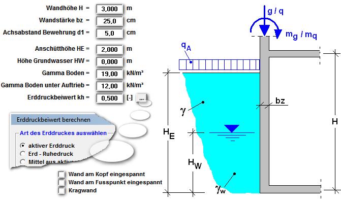 Stahlbeton kellerwand for Statik moment berechnen